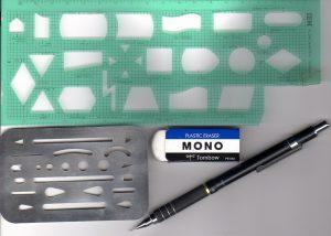 テンプレート定規、消し板などの道具