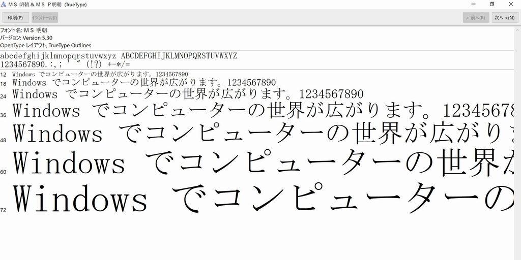 フォント(MS 明朝)
