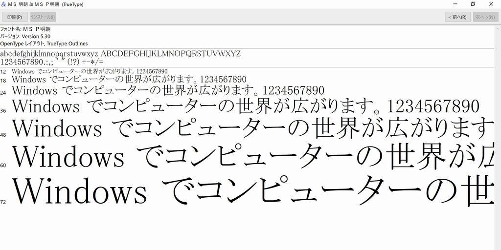 フォント(MS P 明朝)